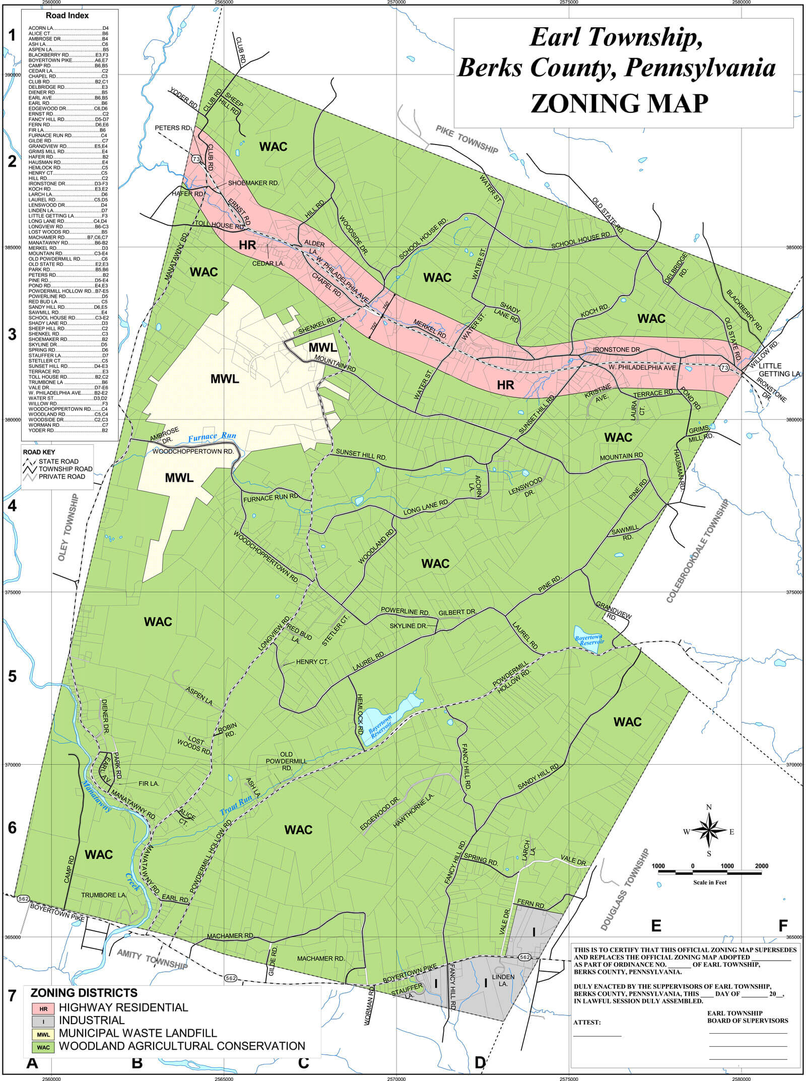 EARL TOWNSHIP ZONING MAP